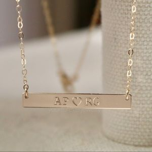 Jewelry - 14k Gold-Filled Couples Initials Engraved Necklace